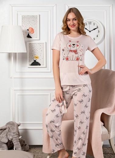 Elitol Viskon Kısa Kol Pijama Takım Somon